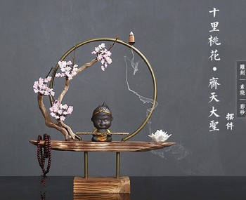 Zen living room adornment originality reflux incense burner ceramic soft decoration solid wood desk tea room decoration