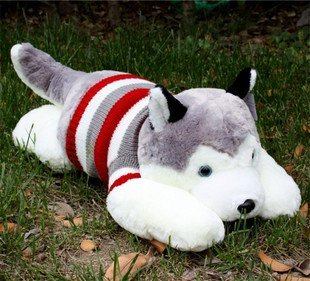 The original huskies figurines of dropped dogs sweater onall four number fluffy toys freeshipping