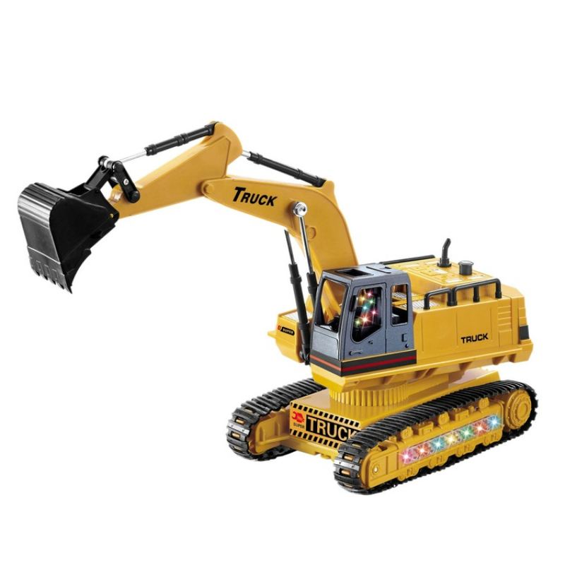 rechargeable remote control excavator car 614 engineering truck educational toy kid best gift with music and LED light toy model remote control 1 32 detachable rc trailer truck toy with light and sounds car