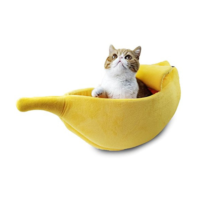 Cat Bed House Cozy Cute Banana Puppy Cushion Kennel Warm Portable Pet Basket Supplies Mat Beds  1