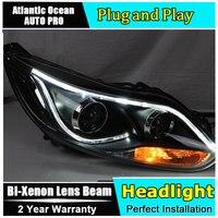 Новая глава Лампы для стайлинга автомобилей для Ford светодиодная фара для Focus 3 седан фары объектив двойной луч ксеноновый комплект HID bi xenon об