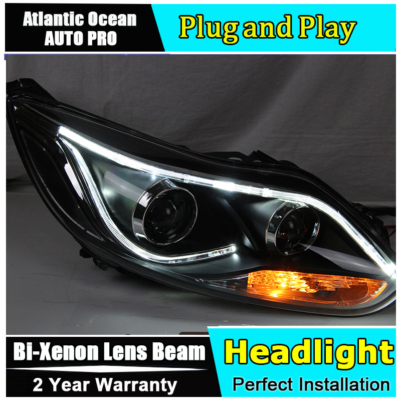 new head lamps Car Styling for Ford Focus LED Headlight Focus 3 sedan Headlights Lens Double Beam HID KIT Xenon bi xenon lens купить в Москве 2019