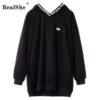 RealShe 2019 Pullover Hoodies Women V neck Long Sleeve Loose Sweatshirts Women Casual Streetwear Hooded Sweatshirt Femme Capuche