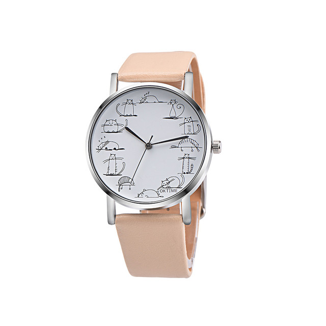 2019 Relogio Feminino Retro Style Lovely Cartoon Cat Leather Quartz Analog Women Watch Casual Ladies Watches Quartz Wristwatch
