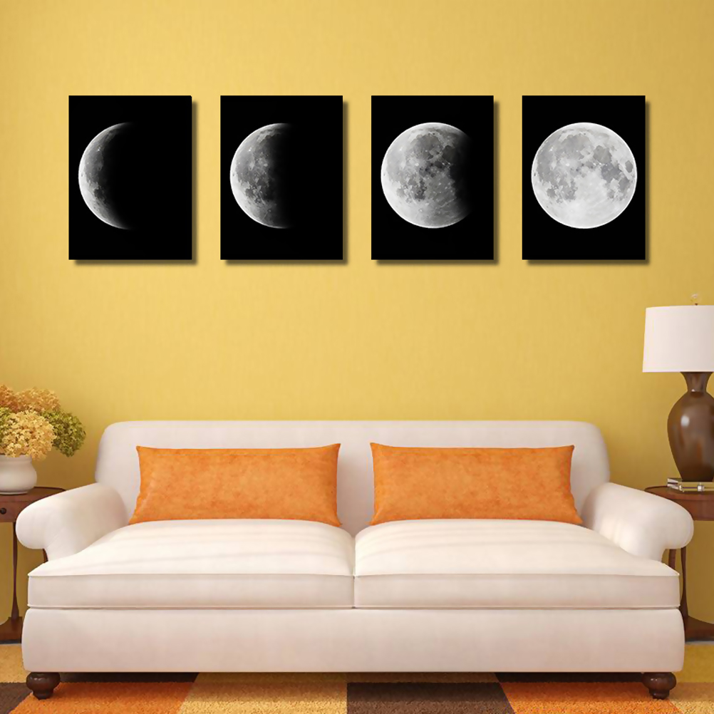 OULII 4PCS Large Canvas Prints Moon Hanging Wall Art Oil Painting ...