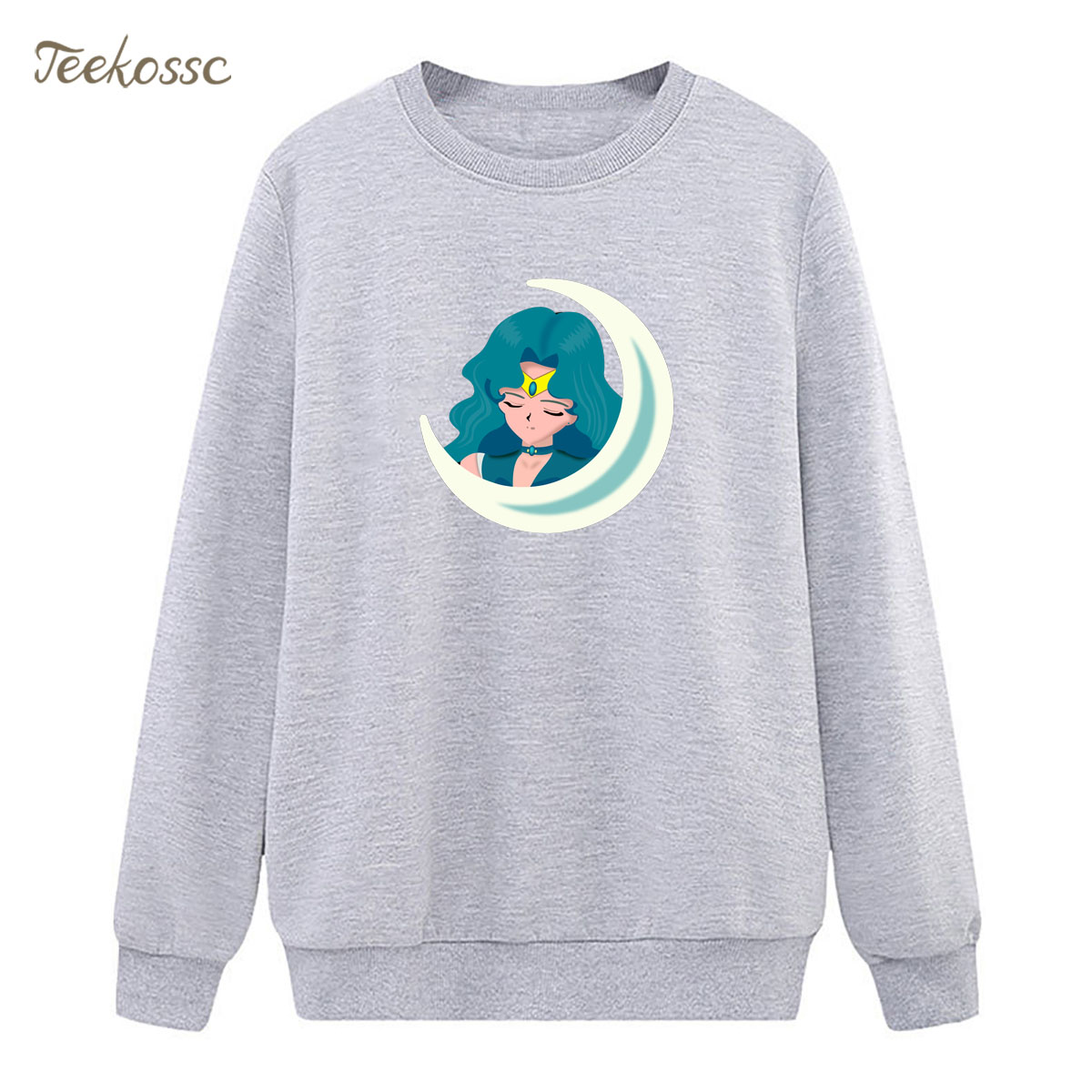 Cartoon Sailor Moon Sweatshirt Print Kaiou Michiru Hoodie 2018 New Winter Autumn Women Lasdies Pullover Loose Fleece Streetwear