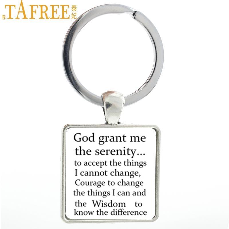 TAFREE God grant Me The Serenity keychain vintage Prayer Bible Art Courage  Square key ring holder men faith jewelry AA59