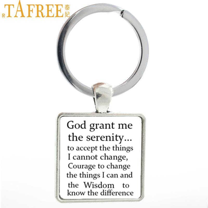 TAFREE Tuhan Memberiku Ketenangan Gantungan Kunci Vintage Doa Alkitab Seni Keberanian Square Kunci Pemegang Cincin Pria Iman Perhiasan AA59