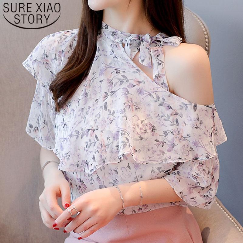 Off shoulder top Ruffles chiffon blouse shirts Bow