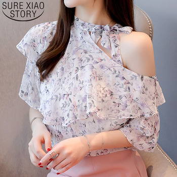 Off shoulder top Ruffles chiffon blouse shirts Bow