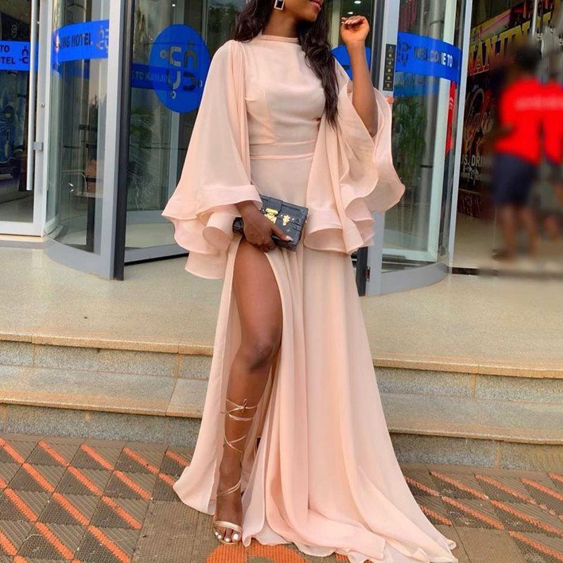 Summer Sexy Club Elegant Party Vintage Travel Beach Women Long Dresses Pink Mesh Split Plus Size 2019 African Female Maxi Dress
