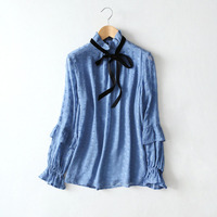 2018 Spring Summer Long Sleeve Stand Collar Ruffles Blouses 100 Silk Blouse Women Fashion Polka Dot