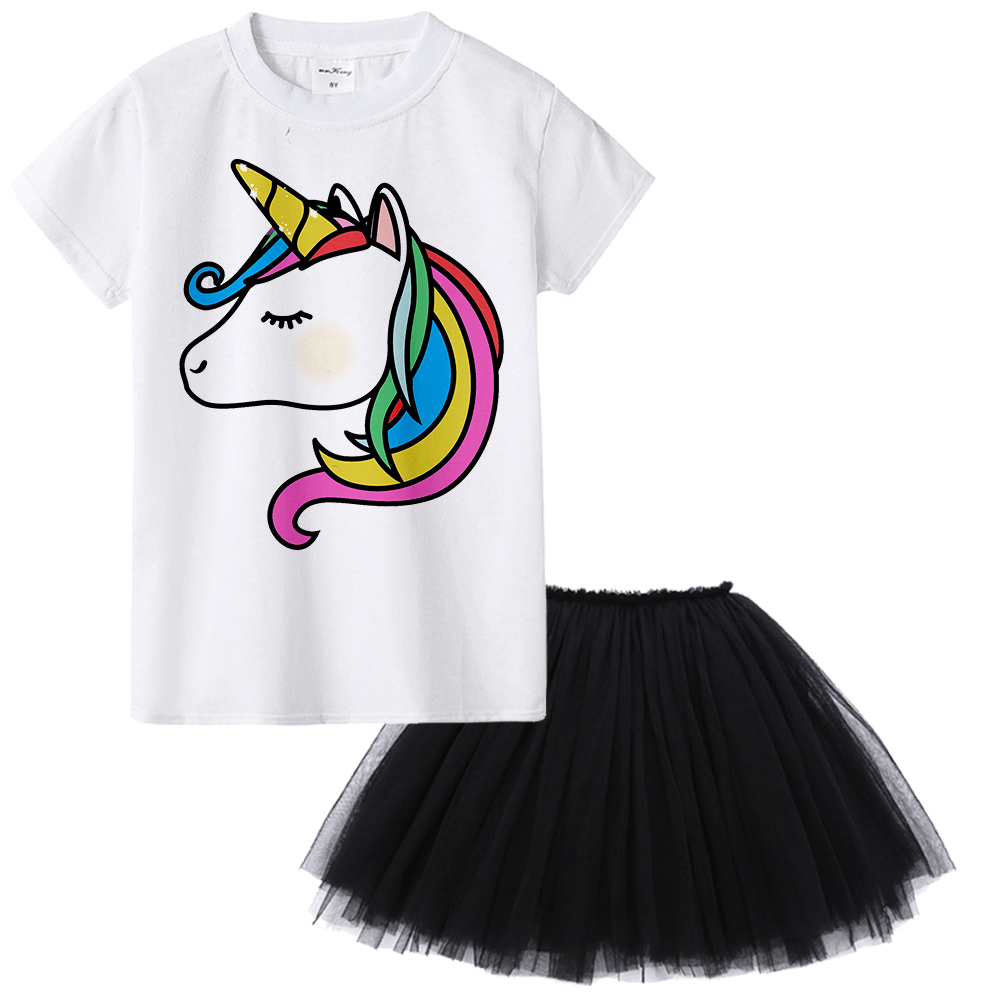 1Y To 12Y Summer Style Unicorn Kids Girl Clothes Children Clothing Unicorn Outfit Skirt + T-shirt 2pcs Set for Toddler Girls 2018 kids girls clothes set baby girl summer short sleeve print t shirt hole pant leggings 2pcs outfit children clothing set