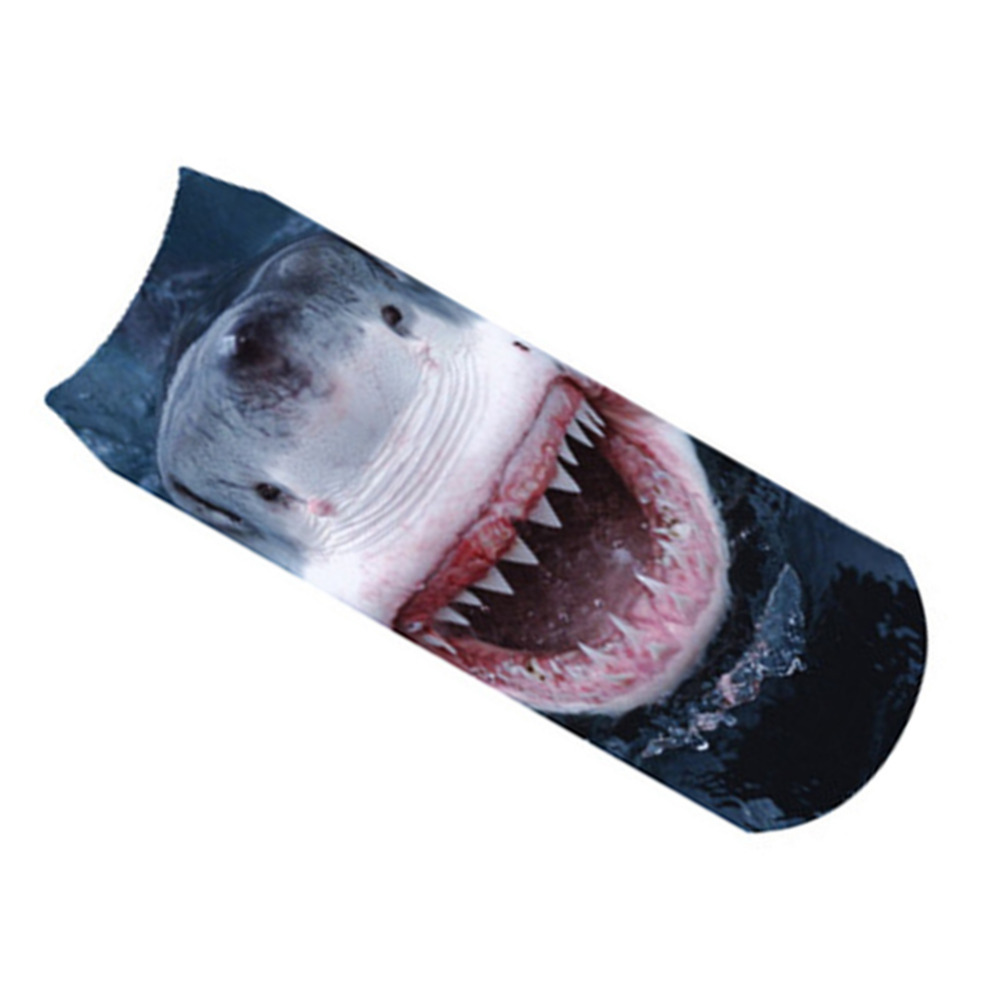 2017 mujeres Calcetines 3D gran tiburón blanco impreso Calcetines ...