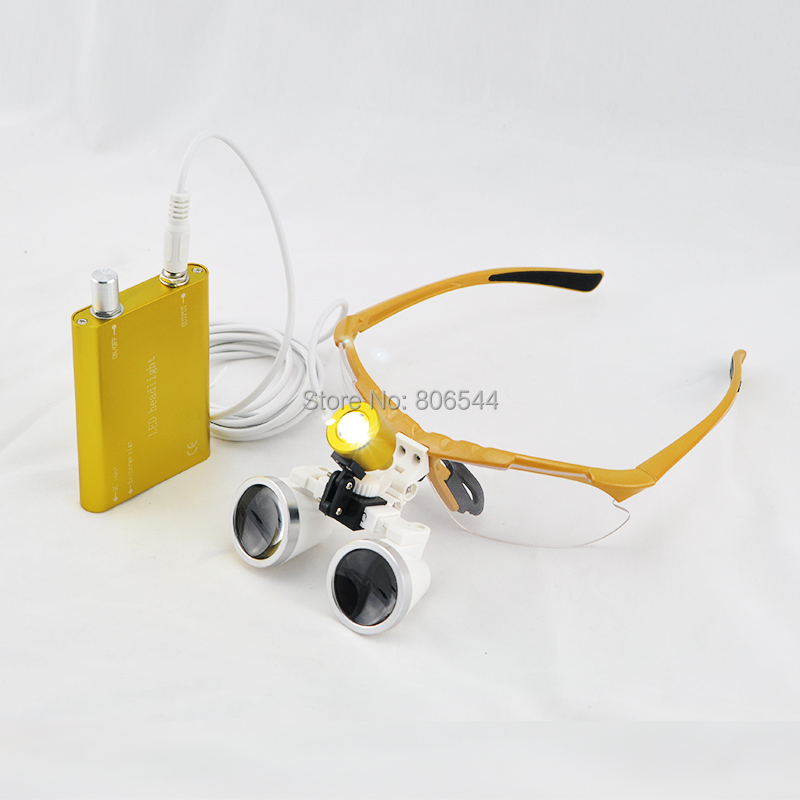 Dental Loupe Golden ! Hot! Dental Surgical Binocular Loupes + LED Head Light lamp 2.5x 320mm 188042-3K 5lens led light lamp loop head headband magnifier magnifying glass loupe 1 3 5x y103