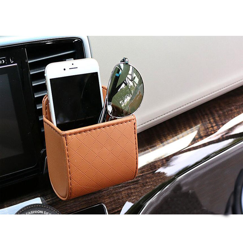 CDCOTN Car Storage Box Leather Socket Mobile Phone Outlet Bag Multi-Function Sundries Backup
