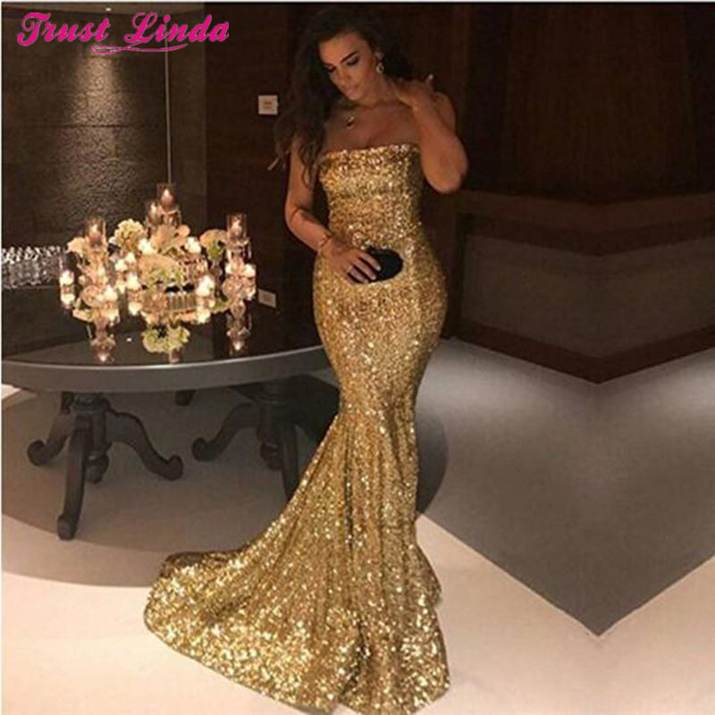 Shinny Strapless Long Mermaid Prom Bridesmaid Dresses Gold Sequins Off Shoulder Simple Party Gowns For Bridal