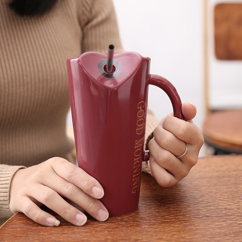 Novelty Ceramic Cup with StrawPersonality Kitchen Coffee Mug Creative Frosted Tea Cup 480ml Home Office Drinkware Unique Gifts