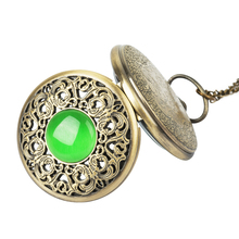 Vintage Bronze imitation Emerald gem pocket watch Hollow Men Women Quartz Pocket Watch Necklace Pendant gift