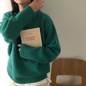 Image 4 - Swetry damskie solidne O Neck ciepłe proste eleganckie studenci koreański styl wypoczynek kobiet luźne Kawaii kobiet sweter wysokiej jakości