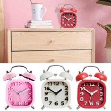 цена на Silent Alarm Clock Alarm Clock Classic Double Bell Square Livingroom Ring Bell Timer Home Decor
