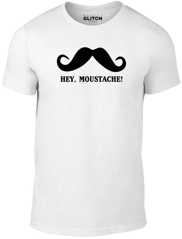 Hey Moustache T-Shirt - Funny t shirt impractical jokers joke q sal jo retro mur Comfortable t shirt,Casual Short Sleeve TEE Футболка