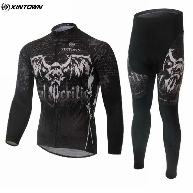 XINTOWN Mens Cycling Jerseys Black Cool Ropa Ciclismo Bicycle Sportwear Bike Shirt Tops Pants Suit S-4XL