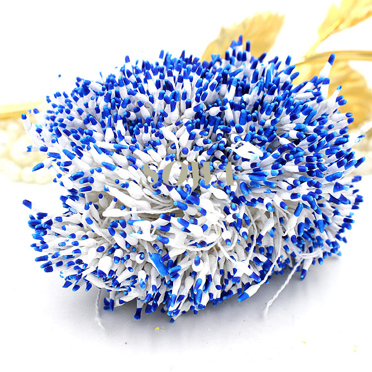 Dark Blue And White Flowers: 800pcs/Lot 1mm Dark Blue And White Colors Double Heads