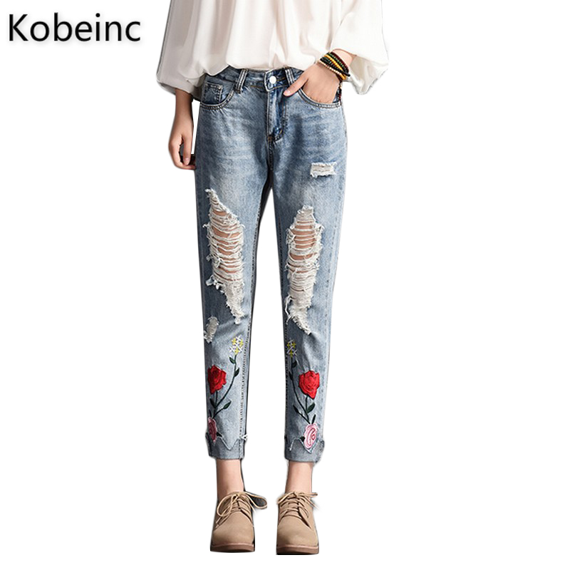 Kobeinc Floral Embroidered Ripped Jeans For Women Summer 2017 New Fashion High Waist Slim-Fit Cropped Jeans Trousers Torn Jeans kobeinc white jeans for women summer 2017 new casual fashion high waist printing slim fit cropped jeans trousers jeans femme