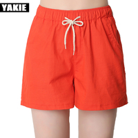 2017 Summer Shorts Women Casual Fashion Candy Color Cotton Linen Shorts Female Plus Size Loose Ladies