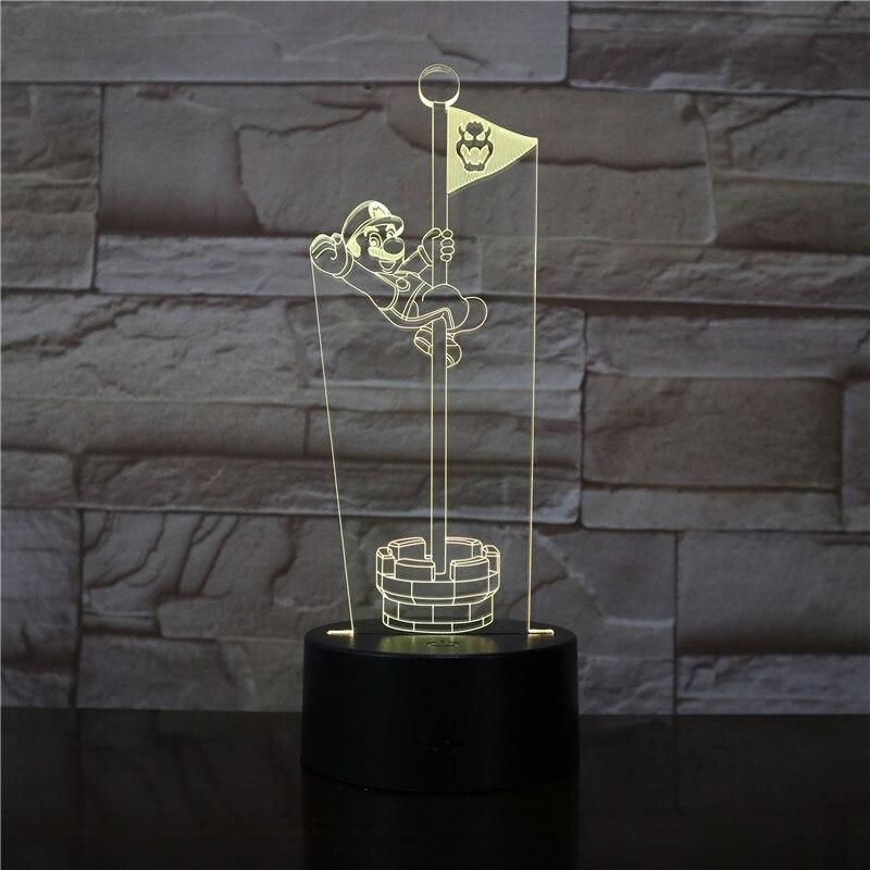 Super Mario Jump The Flag 3D LED Lamp Nightlight 7 Colors Visual Illusion Changing Novelty Light Cartoon Gift Dropshipping