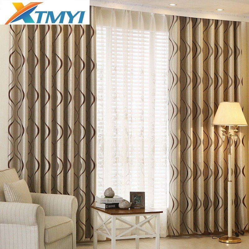 European Damask Curtains For Living Room Luxury Thick Wavy Striped Blackout Curtains Windows Drapes Printing