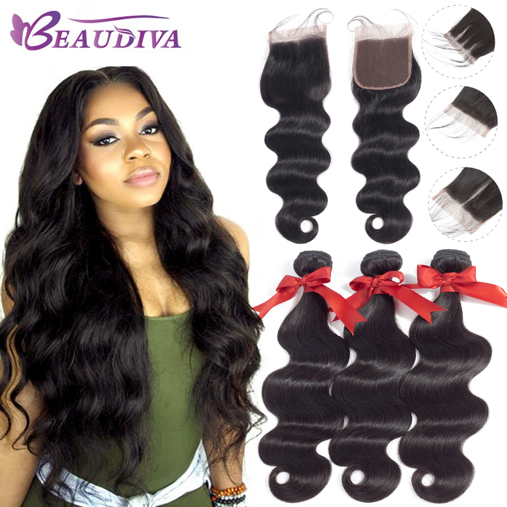 BEAUDIVA onda del cuerpo del pelo brasileño 3 paquetes con cierre cabello humano Bundles con cierre de encaje de cierre del pelo humano