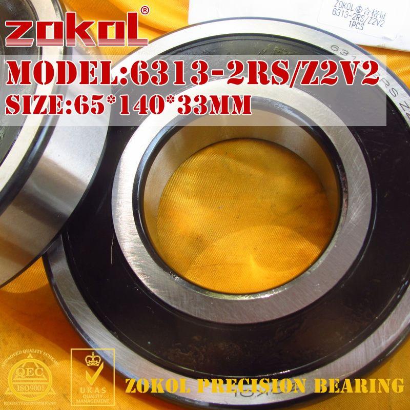 ZOKOL 6313-2RS bearing 6313 2RS Z2V2 180313/Z2V2 Deep Groove ball bearing 65*140*33mm zokol 6311 2rs bearing 6311 2rs z2v2 180311 z2v2 deep groove ball bearing 55 120 29mm