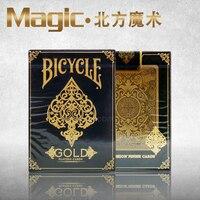 Ouro bicicleta deck de magic truques magic adereços bicicleta cartões de nós fora de impressão frete grátis