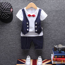 Formal Clothing Sets For Baby Boys 1 Year Birthday Christening Party Wedding Clothes Suits Newborn Baby Boy Outerwear Cloth Sets cheap REGULAR striped L-455 O-Neck Vest Pullover Broadcloth Polyester COTTON BarbieRabbit Short Fits true to size take your normal size