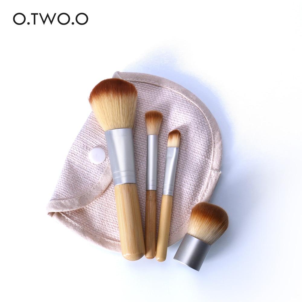 O.TWO.O 4 unids/lote bambú cepillo de La Fundación maquillaje cepillos cosméticos cara polvo cepillo para maquillaje belleza herramienta