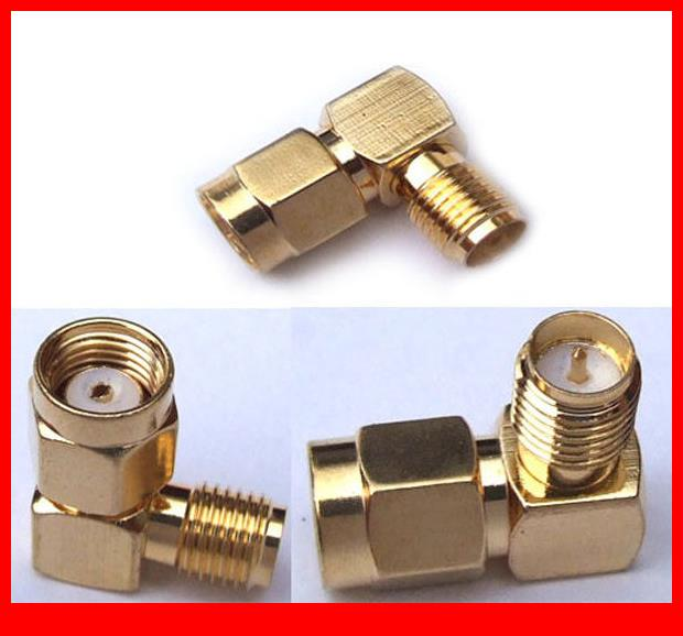 50PCS RP SMA female to RP SMA male Plug adapter rightangle connector Adapters sma female to rp sma male connector 90 degree right angle rp sma male to female adapter screw the needle to sma male to female