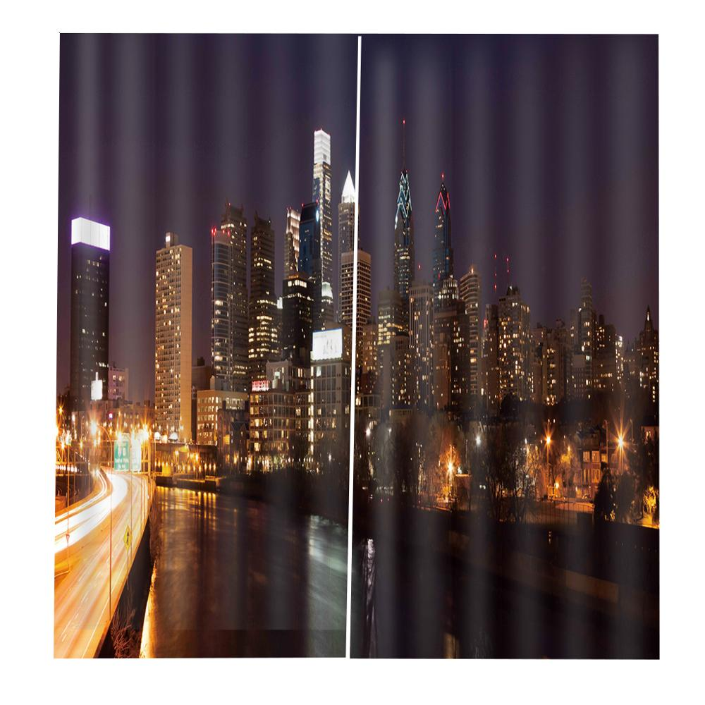 Customized size Luxury Blackout 3D Window Curtains For Living Room  night city curtains for bedroom Decoration curtains