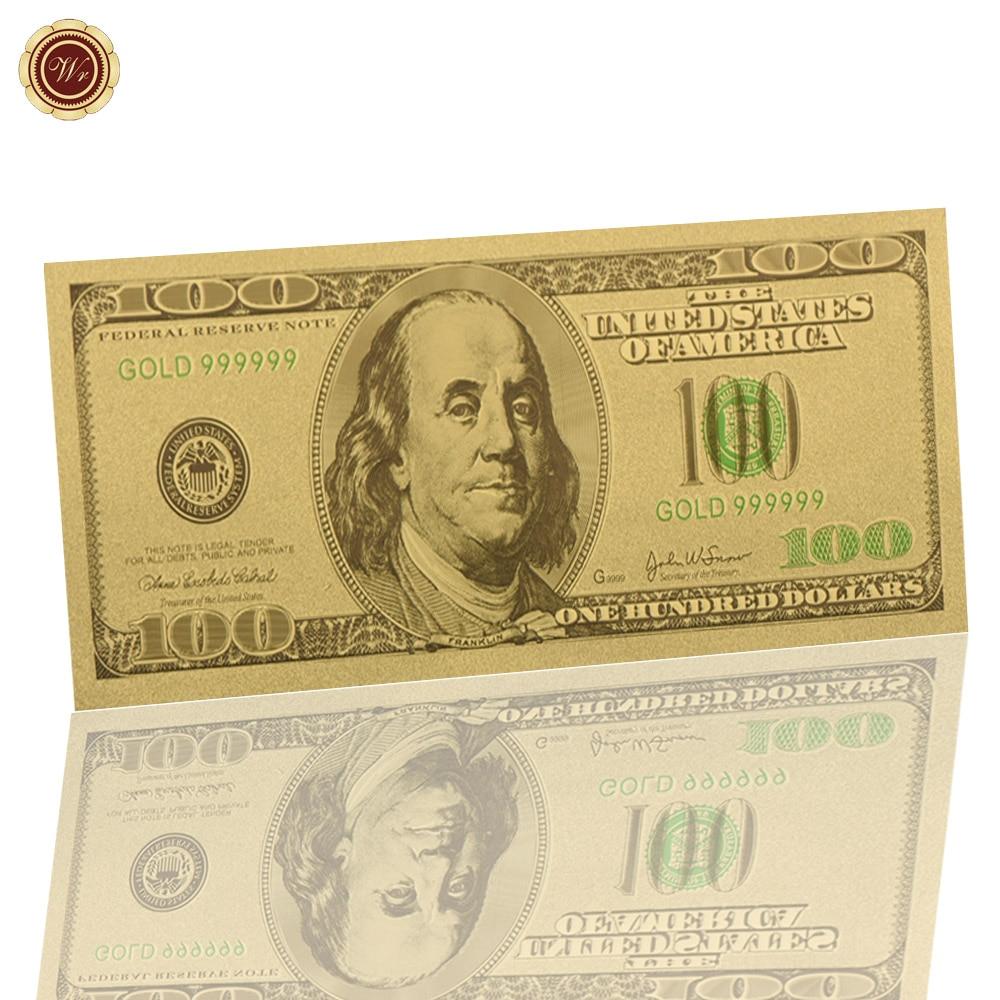 WR 24k Золотая банкнота USD 100 кукольный уникальный сувенир подарки США бумажные деньги искусство ремесла качество Поддельные деньги металличе...