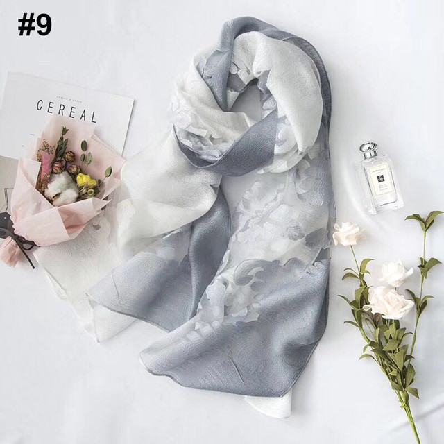 Women Plain Brodent Floral Organza Scarves Muffler musulman Wrap Châle parasol