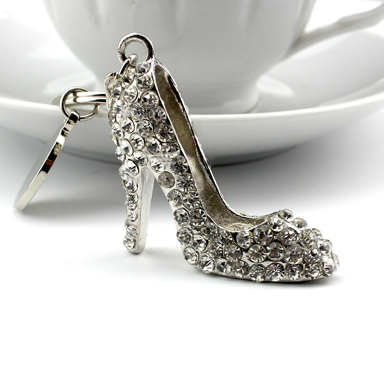 Crystal high heel shoes keychains silver plated woman shoe ...