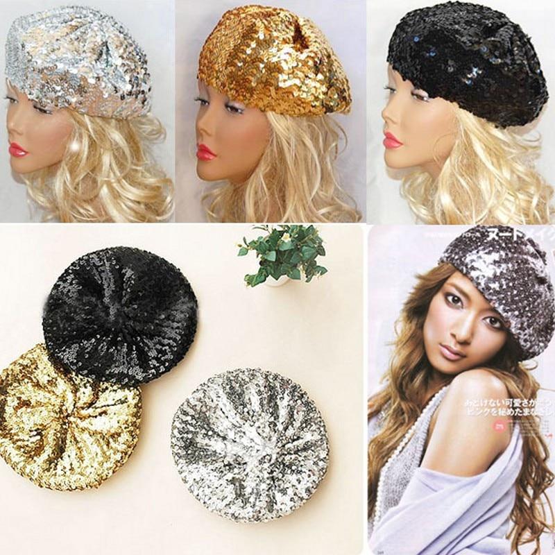 Women Sequins Hat Shiny Costume Jazz Glitter Dance Beret Round Cap Ladies Fashion Accessories Beanie