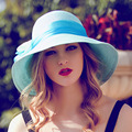 2016 New Lady Sun Hat Summer Straw Hat Women Folded Wide Brim Sun Cap Elegant Travelling Hat New Headwear B-1969