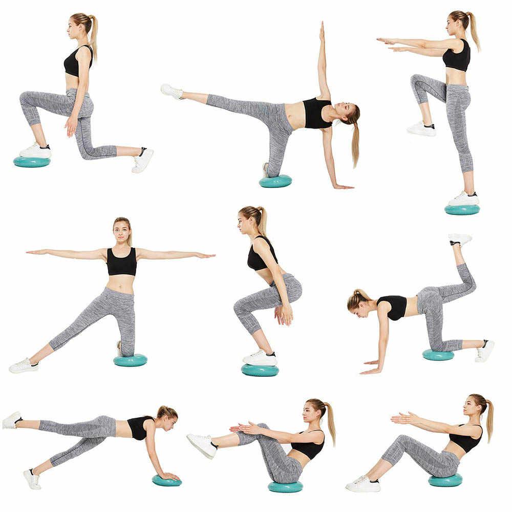 Inflatable Yoga Massage Ball Pad With Pump Air Stability Fitness Balance Disc Exercise Ball Cushion Pilates Equipment Bosu Balls