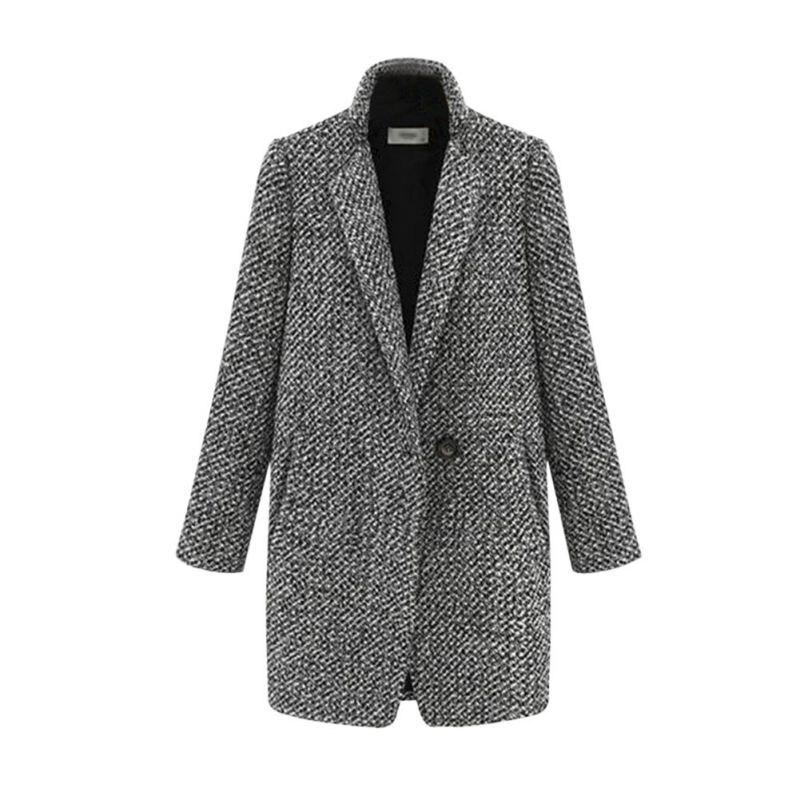 Elegance Winter Warm Gray Color Women Ladies Trench Outwear Long Wool Overcoat font b Tartan b
