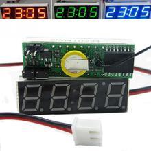 3 в 1 Автомобильная цифровая трубка светодиодный Вольтметр термометр время автомобильный стол часы циферблат электронные часы