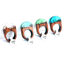 1PC Handmade Wood Resin Ring Beautiful Landscape Wooden Rings For Women Men Unisex Natural Style Jewelry Dropshipping