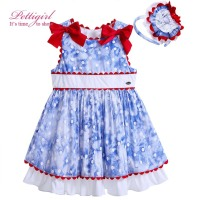 Newest Style Blue Cotton Adorable Baby Girl Dress Red Bowknot Decor Boutique Kid Clothing With Flower Headwear G-DMGD905-777