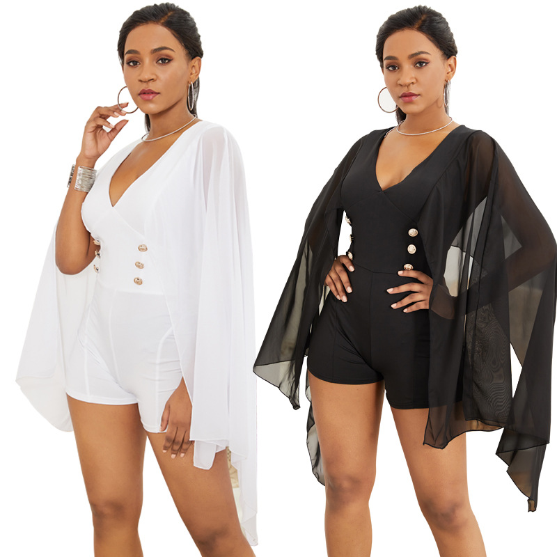 Women V Neck Jumpsuit Batwing Sleeves Elastic Slim Fit Female Bodysuit for Summer -MX8